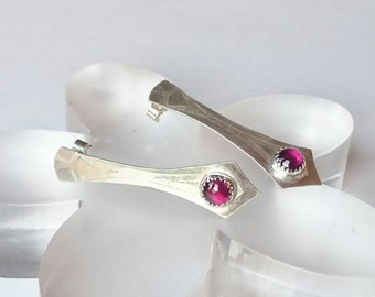 Sterling silver handmade drop earrings with 6m garnet cabochons, hallmarked in Edinburgh