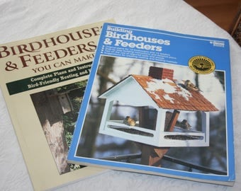 Two Soft Cover Books Building Bird Houses, Birdhouses and Feeders You Can Make Instructions Directions Birds Bird Nature Organic