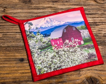 Red Barn in Pear Orchard Photo Pot Holder, Hot Pad, Handmade