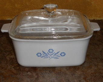 Vintage Corningware Rectangular Casserole Dish-Blue Cornflower-1 1/2 Qt w/ Lid