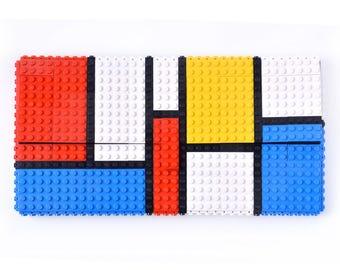 Mondrian tribute oversize clutch made entirely with LEGO bricks