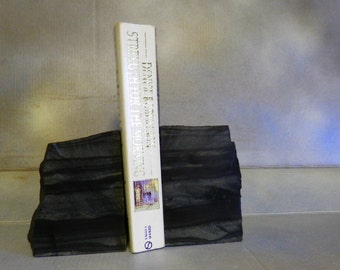Bookend Pair of Banded Taconite -- Display Stand Cut from One Rock for Books, CD's, Mail, Napkins, Whatever