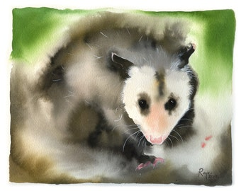 """Limited Edition GICLEE MINI Print / """"Nocturnal Eyes"""" / Watercolor Painting of an Oppossum"""