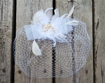 Wedding Headpiece, Bridal Headpiece, Wedding Hair Piece,Bridal Hairpiece, Birdcage Veils, Wedding Veil, Hair Accessory, Feather Fascinator