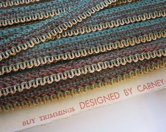 vintage metallic edge decor trim - flat braid, metallic edge trim, metal edge gimp trim - GREEN and brown with gold edge