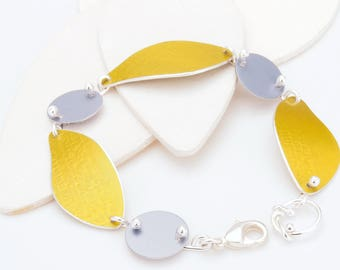 Yellow, Gray and Silver Link Bracelet – Sunbeam Shadows Collection by Mandy Allen