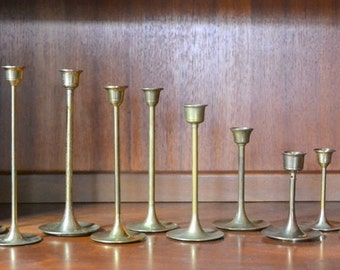 vintage graduated solid brass candle stick holders - mixed / modern home decor / gold tone brass metal