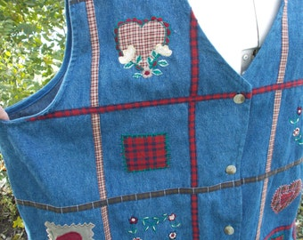 SALE!  Christmas Denim Vest, Ugly Christmas Vest, Extra Large Vest, Embroidered Vest, Christmas Party Clothing, New With Tags