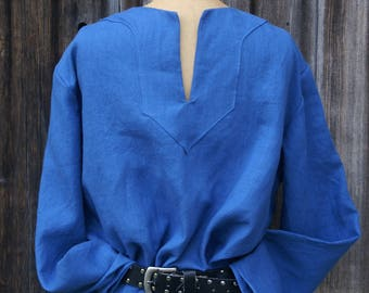 Blue linen mens early medieval viking tunic shirt for sca larp or renaissance faire Size M -Ready to Ship-