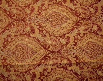 Dark Red Gold Damask Upholstery Linden Garnet Fabric REMNANT 57 inches x 4.375 yards