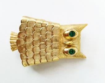 Vintage Avon Owl Emerald Green Gold Lip Balm Brooch Pin