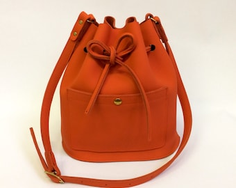Red Leather bucket bag, leather bag, orange red, shoulderbag, women's bag, bucket