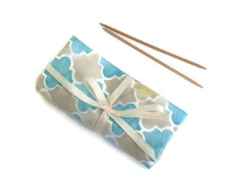 Knitting  Needle Case DPN Organizer Roll Up Aqua Brown Fabric  Double Point Needle Storage Case with Pockets  for 7 Inch DPNs