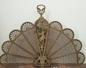 Victorian Brass Peacock Fan Fireplace Screen. Asian inspired. Dragon handles, Ornate Foo Dog base.  Gold  Fireplace Screen