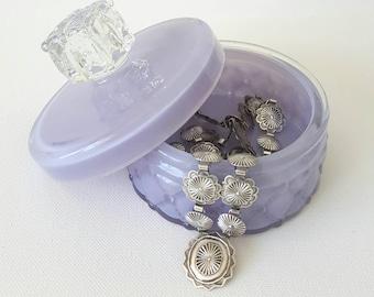 Vintage GLASS VANITY JAR. Loose Powder, Jewelry or Trinket Box. Diamond Quilted Glass Jar and Lid. Lavender Purple Makeup Jar .