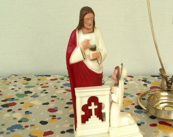 Vintage First Holy Communion Kneeling Girl and Religious Candle Holder