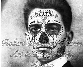 Day of the Dead / Sugar Skull Gentlman Altered Art Black and White Print / Mixed Media Print / Victorian Death Mask  / Robert Price