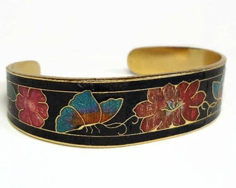 60s Butterfly & Flowers Cloisonne Cuff Bracelet with Pinks, Golds, Blues and Green Enameled Floral Motif - Vintage 60's Costume Jewelry