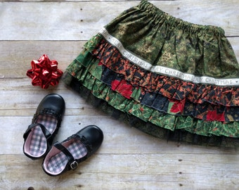 Toddler Girls Christmas Ruffle Skirt / Size 3T - Ready to Ship / Toddler Holiday Skirt / Toddler Christmas Skirt
