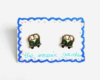 Campervan Earrings Green, Combi Studs, Shrink Plastic, Gift for Her, For Mum, Jewellery, Mother's Day