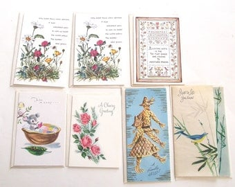 Vintage Notecards, Lot of 7 Greeting Cards with Envelopes (CL1)