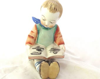 Little Boy Reading a Book, Vintage Painted Figurine (G1)