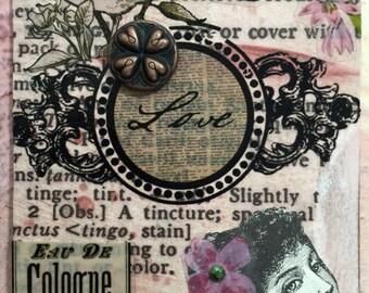 Romanticism AcEo Artist Trading Card Etsy Valentines Day Mixed Media ACEO Alteredhead On Etsy Valentine ATC Original Handmade Design On Etsy