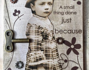 A Small Thing Steampunk Child On ETSY  ACEO Artist Trading Card Alteredhead On Etsy Artwork ATC Original Handmade Design