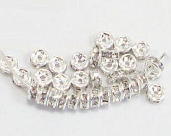 4mm Clear Silver Rhinestone Rondelles-Brilliant, sparkle, 4mm rhinestone rondelles,4mm rhinestone spacers