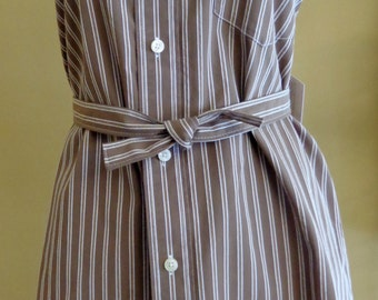 Men's Shirt Apron, Up-cycled, Re-purposed, Refashioned Men's Shirt, Brown and White Stripes
