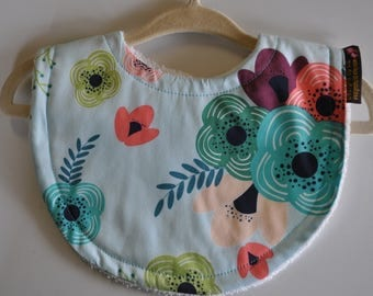 Baby Girl Terry Cloth Snap Bibs, Aqua and Pink Flowers