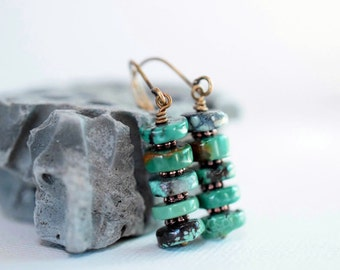 Green Turquoise Earrings Rustic Bohemian Earrings Green Earrings Stacked Earrings Unique Long Dangles Antique Brass Drops Birthstone Gift