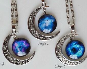 Crescent moon necklaces w galaxy, galaxy necklace, nebula necklace, cosmos necklace, moon galaxy necklace, cosmos necklace add initial charm