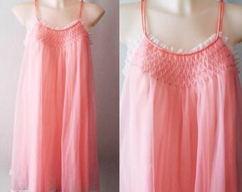 Pink Chiffon Nightgown, Vintage Pink Chiffon Nightgown, Linda Underlovelies, 1960s Pink Chiffon Nightgown, Vintage Nightgown, Nightgown