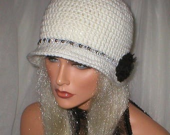 35% OFF SALE Crochet Women White Silver Sequent Braided Band 1920's Cloche Flapper Hat