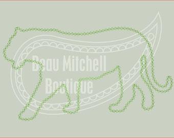 Tiger diamond stitch applique