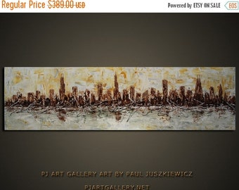 """17% OFF /ONE WEEK Only/ Chicago Scape Knife Abstract by Paul Juszkiewicz 60""""x18"""" brown cognac"""