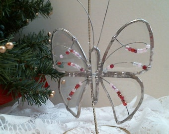 Beveled stained glass BUTTERFLY w Pink Beads suncatcher or ornament