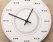 "porcelain clock 8 3/8"" stamped now at each hour."