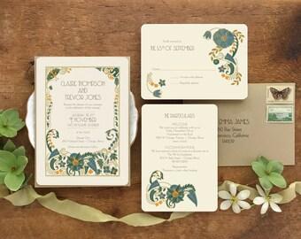 Greenery Wedding Invitation, Art Deco Wedding Invitation, Wedding Invitation Set, Wedding Invitations, Gatsby Invitation, Jade Mandevilla