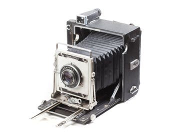 Crown Graphic 4x5 large format folding camera with 135mm lens and Graflok back