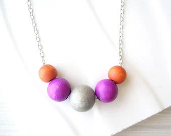 Wood Anniversary Gift, Orange, Colorful Necklace, Purple, Fuchsia, Simple Jewelry, Grey, Nickel Free Sterling Silver, Hot Pink, Multicolor