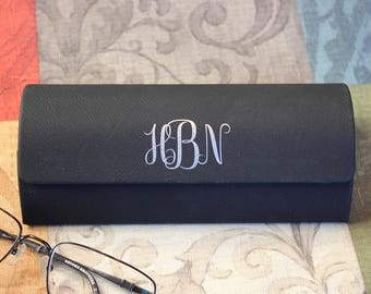 Personalized Eyeglass Case, Eyeglass Holder, Monogram Eyeglass Case, Black Eyeglass Case, Silver Lettering