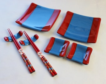 GLASS SUSHI SET-Red Blue Dishes with Chopsticks, Under 75, Japanese Dishes, Wedding Anniversary Gift, Fused Glass Sushi Dishes, Hostess Gift