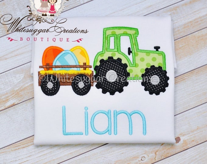 Boy Easter Tractor with Eggs Appliqued Shirt - Custom Easter Truck Personalized shirt - Boys Easter Shirt