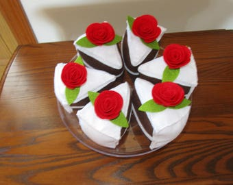 Felt Food, Cake Slice, Chocolate with Vanilla Frosting and Red Rose