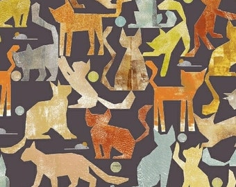 Smarty Cats by Maria Carluccio for Windham Fabrics - Full or Half Yard of Cats at Play