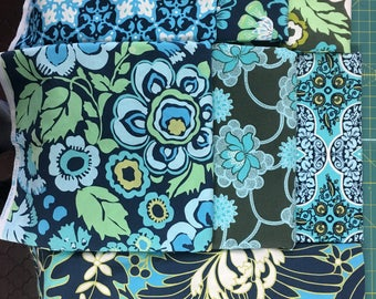Daisy Chain by Amy Butler for Rowan Fabrics - Over 11 Yards Prewashed Modern Blue and Green Floral Discontinued Fabric