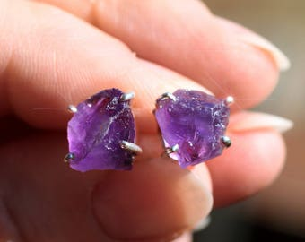 Purple Passion - Amethyst Crystal Sterling Silver Earrings