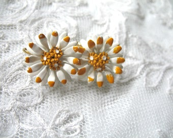 Vintage Enamel Flower Earrings ~ White & Sunflower Yellow ~ Clip On